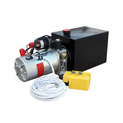 2200w Single Acting Hydraulic Pump Dc 12v Dump Trailer - 8 Quart 3200 Psi Max.