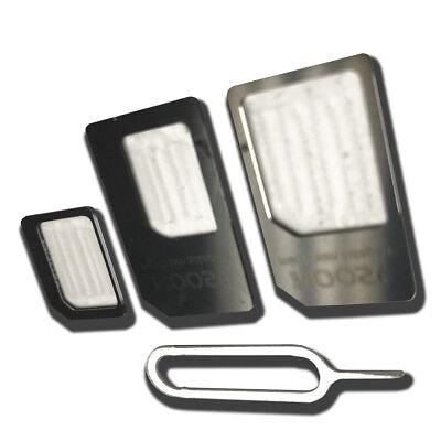 Nano SIM Card BLACK adapter to Micro Mini Converter & Pin for iPhone (Micro Sim Card To Mini Sim Card Adapter)