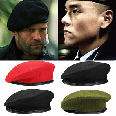Men Women Wool / Mesh Beret Hat Army Military Soldier Cap Summer Winter Cadet Mesh Wool Cap