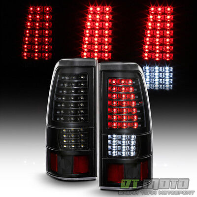 Black 2003-2006 Chevy Silverado 1500 2500 3500 Full LED Tail Lights Brake Lamps