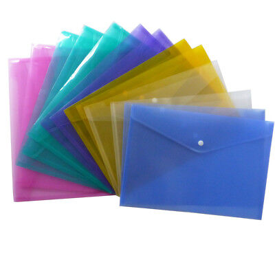 A4 Plastic Stud Document Wallets Files Folders Filing School Office Assorted - Plastic Folders