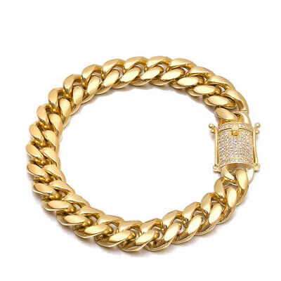 Diamond Cross Link Bracelet - Miami Cuban Link Chain Bracelet 14k 18k Gold Stainless Steel Diamond Clasp