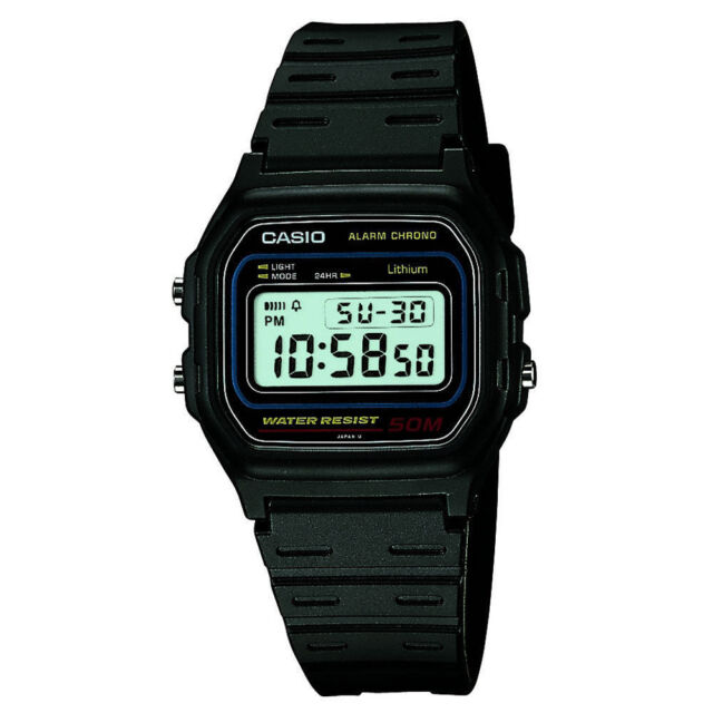 Casio Classic Black Digital Watch W-59-1VQES Alarm Calendar WaterResistant Retro