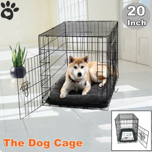 Small Cute Dog Pet Cat Crate Cage Kennel Wire Metal Folding