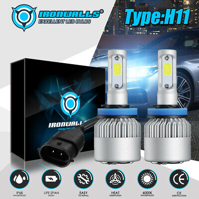 IRONWALLS H11 LED Headlight Super Bright Bulbs Kit 300000LM HI/LO Beam 6000K New