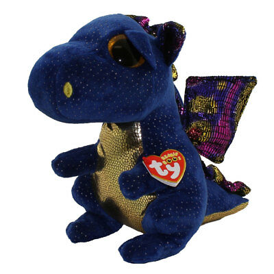 "Ty 6"" SAFFIRE Blue Dragon Beanie Boos Plush Stuffed Animal w/ Heart Tags 2017"