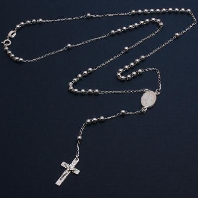 Sterling Silver 3mm Bead Rosary Necklace w/ Religious Charm & Dangling Cross