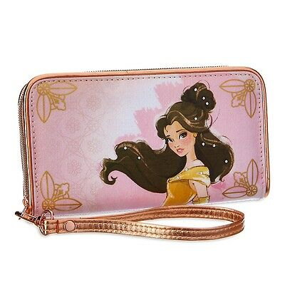 Stunning Disney Store Art Of Belle Wallet Purse Pink Gold Beauty And The Beast