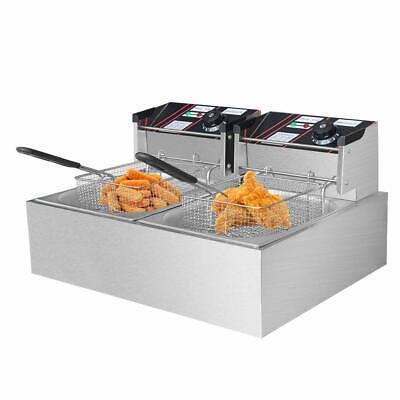 12l 3000w Portable Electric Deep Fryer Double Tank Basket Commercial Restaurant