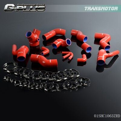 Silicone Boost - Silicone Boost Piping Hose Kit For Audi S4 RS4 A6 B5 C5 2.7L Bi-Turbo 97- 01 Red
