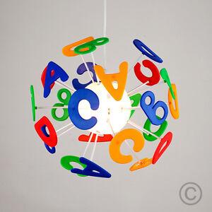 Colourful Childrens Kids Bedroom Boys / Girls Alphabet Ceiling Light Lamp Shade