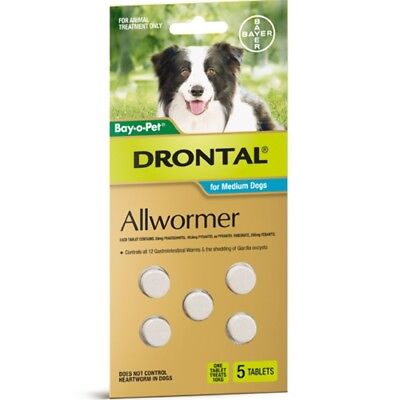 (Drontal Allwormer Tablets for Dogs 10kg 5 tablets Dog Dogs Pet Pets)