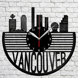 Vancouver Skyline Vinyl Record Wall Clock Home Fan Art Decor 12'' 30cm 6839