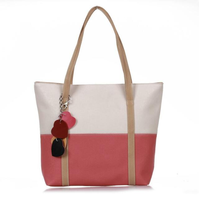 Women PU Leather Hand Bag Handbag Shoulder Tote Beige+Watermelon Red