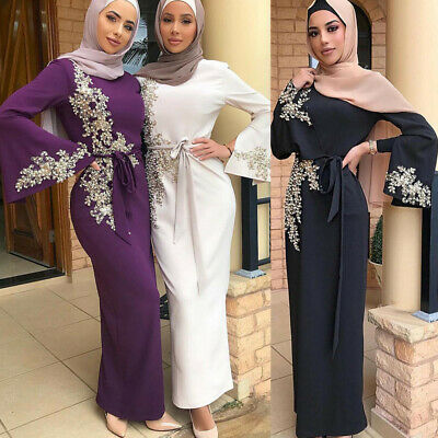 Dubai Muslim Women Embroidery Abaya Party Cocktail Bodycon Dress Maxi Long Gown