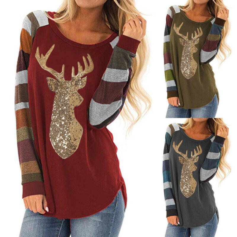 Women Christmas Tops Stripe Sequin Deer O-Neck Long Sleeve S