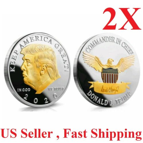 2x Golden President Trump Keep America Great 2020 Commemorative Gold+Silver Coin