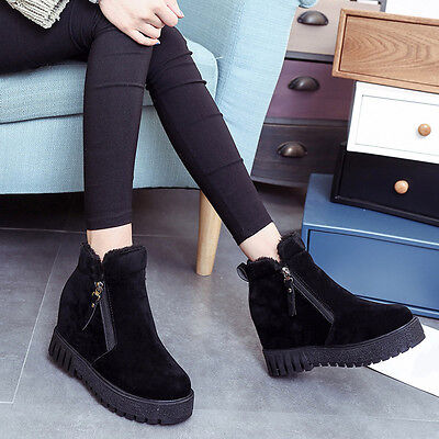 Fashion Women Winter Ankle Boot Round Toe Zip Scrub Hidden Wedges Boot Shoes