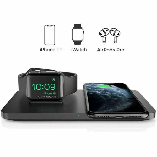 Dual 2 in 1 Wireless Charger pad with iWatch Charging Stand
