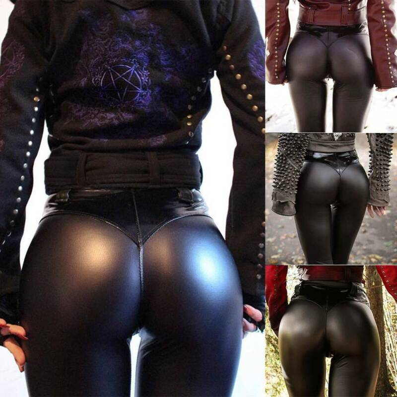 Womens Faux Leather Leggings High Waist Wet Look Shiny Stret