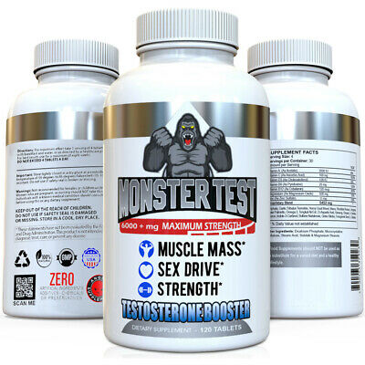 Monster Test Testosterone Booster w Tribulus All Natural For Men 6000mg w/ Zinc