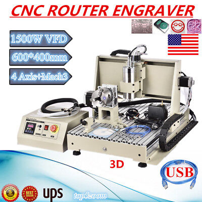 Usb 6040 4axis Cnc Router Engraver 1.5kw Engraving Milling Cutting Tool Full Set