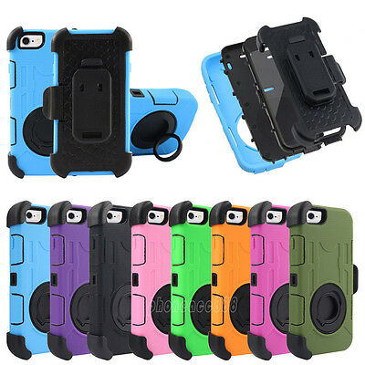 Armor Heavy Duty Hybrid Case Cover With Kickstand Belt Clip for Apple / Samsung