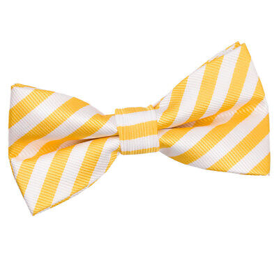 DQT Woven Thin Stripe White Yellow Classic Mens Pre-Tied Bow Tie White Stripe Bow Tie