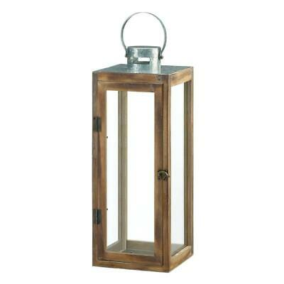 "large 19"" tall country western Wood galvanized metal Candle holder Lantern Lamp"