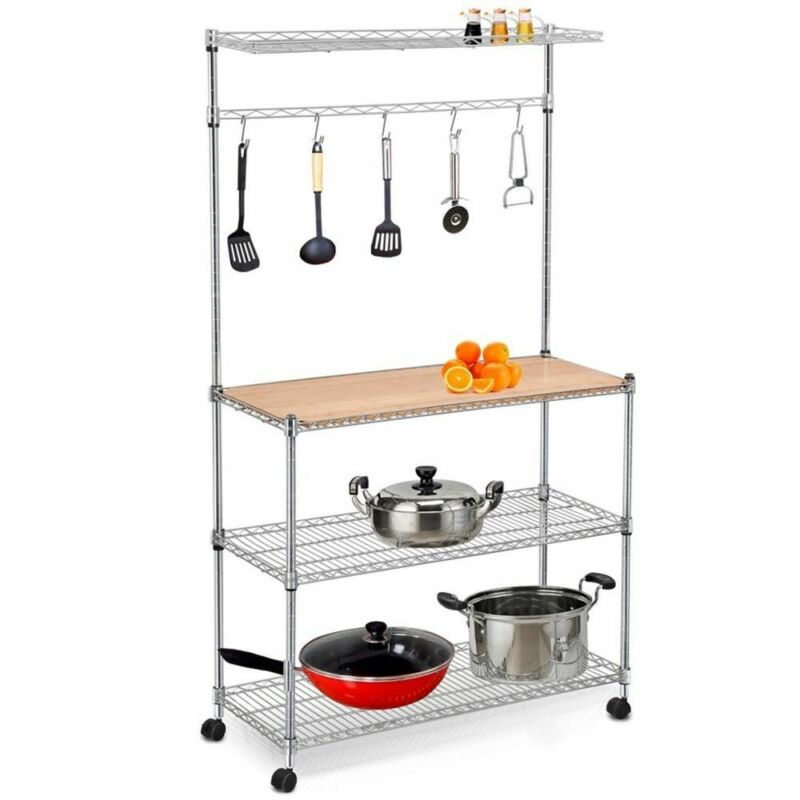 "59"" 4 Tier Bakers Rack Kitchen Cart Microwave Stand Cutting Board Workstation"