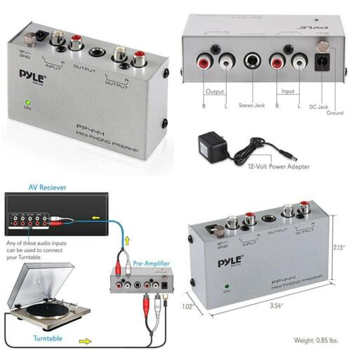 Pyle Phono Turntable Preamp Mini Electronic Audio Stereo Phonograph Preamplifier