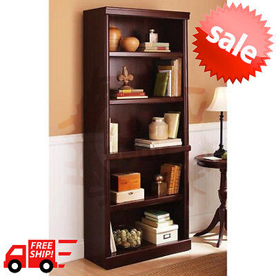 5 Shelf Cherry Bookcase Wooden Book Case Storage Shelves Wood Bookshelf Library Ebay