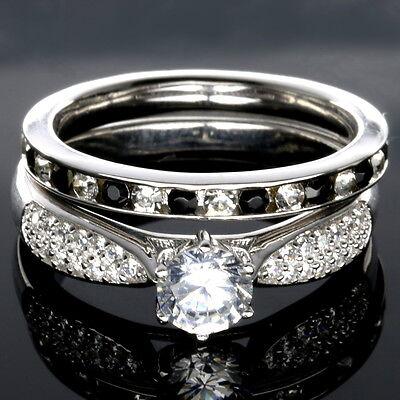 WEDDING RINGS 2pc SET | PREMIUM CZ 925 Sterling Silver Black and White ](Black And White Wedding Sets)