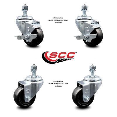 Hard Rubber Swivel Ts Caster Set Of 4 W3 Wheels 12 Stems - 2 Wbrake