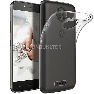 Clear Slim Gel Case and Glass Screen Protector for Motorola Moto C Plus