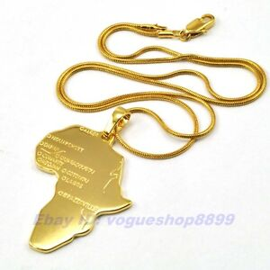 REAL CHIC 18K YELLOW GOLD PLATED AFRICA MAP PENDANT 17.7