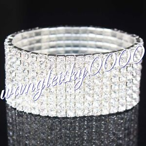 Fashion Crystal Rhinestone Stretch Bracelet Bangle Wedding Bridal Wristband
