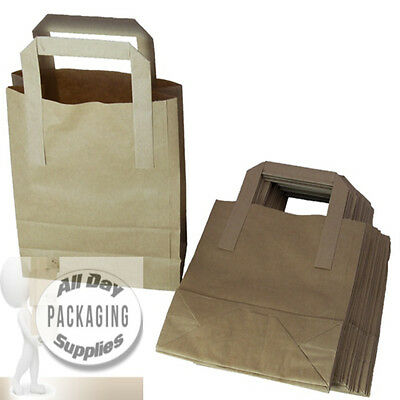 100 SMALL BROWN PAPER CARRIER BAGS SIZE 7 X 3.5 X 8.5