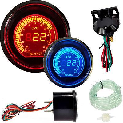 "Hot 2"" 52MM PSI Digital Boost Vacuum Gauge Meter Car LED Red & Blue Universal US"