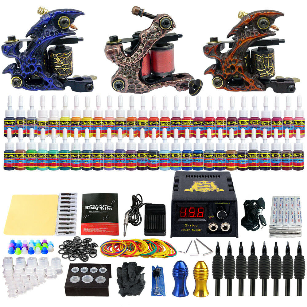 Details about Solong Tattoo Complete Tattoo Kit 3 Guns Set 54 Inks Power  Supply Needles TK353