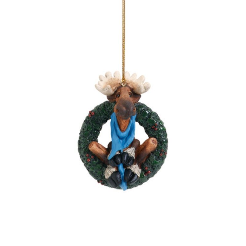 Bearfoots Winter Moose in Wreath Christmas Tree Ornament 3005070225 New