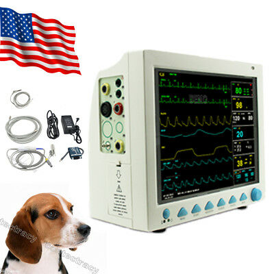 Us Fda Veterinary Vet Icu Patient Monitor 6 Parameter Ecgnibpspo2resptemppr