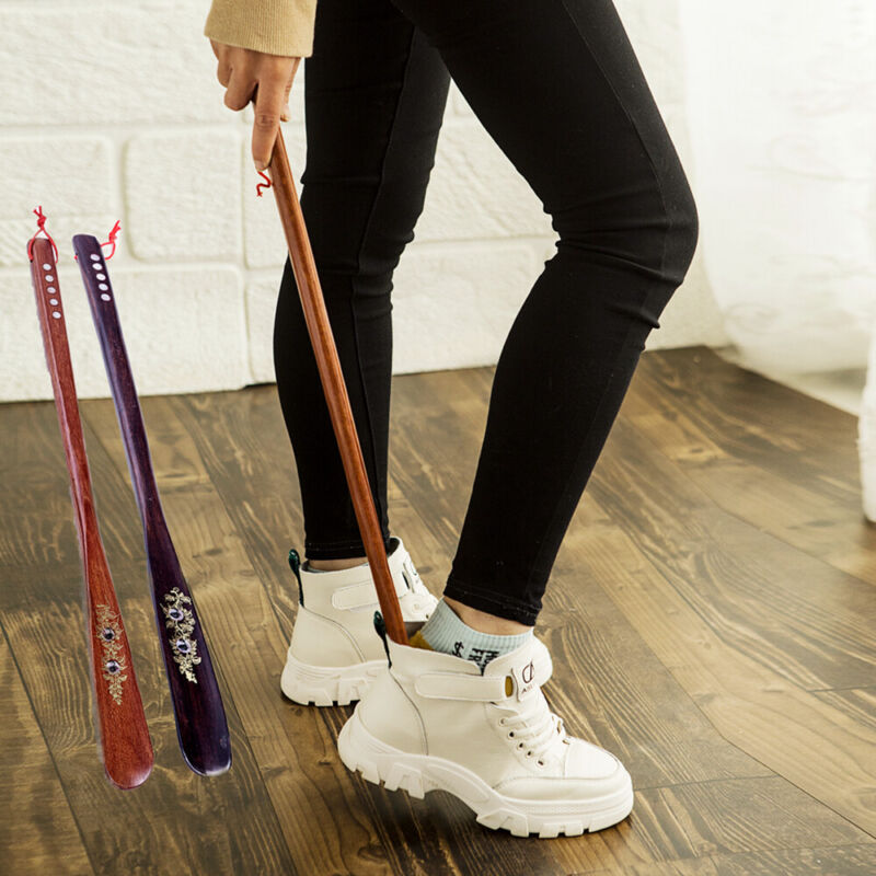 Extra Long Handle Shoehorn Shoe Horn AID Stick Wooden 55cm /21.5