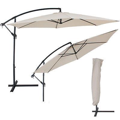 Matall Ampelschirm Sonnenschirm Kurbelschirm 3,5 m +UV Schutz +Schutzhülle beige