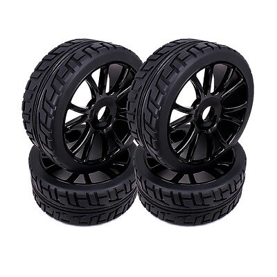 4pcs Wheel Rim Tire RC 1/8 Buggy Off-Road Car 12 Spoke For HSP Traxxas