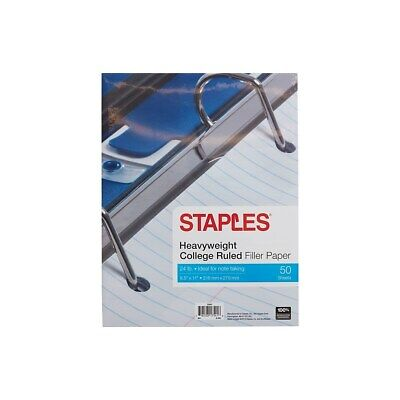 Staples Heavyweight College Ruled Filler Paper 8.5 X 11 50 Sh.pk 22643