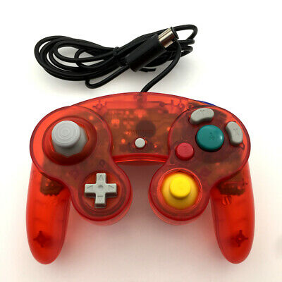 Clear RED Wired Game GC Shock Controller for Nintendo GameCube NGC Console