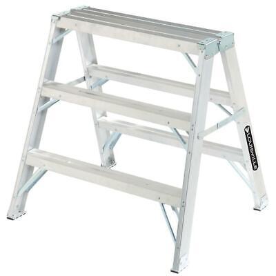 Louisville Twin Step Ladder 3 Ft. Aluminum Slip-resistant Feet 300 Lb. Capacity