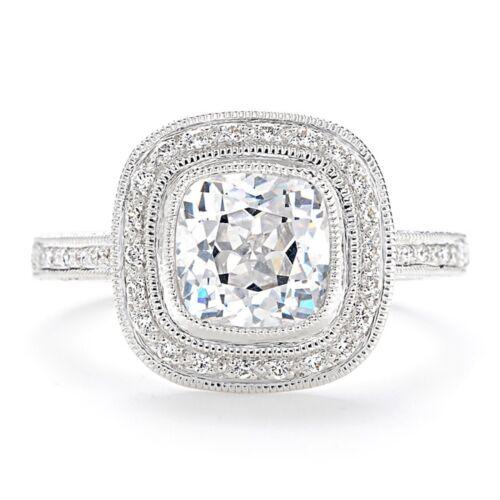 Platinum GIA Certified Cushion Cut Diamond Engagement Ring 2.00 Carat