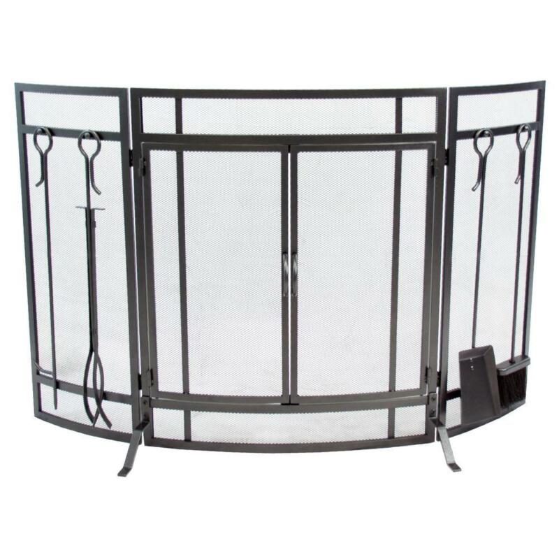 Fireplace Screen and Tool Set Combo 3-Panel Curved with Tool